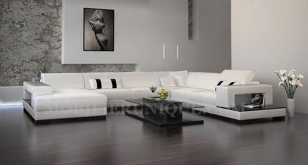 canape d\'angle cuir blanc italien