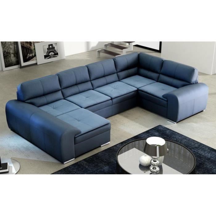 canape d'angle cuir bleu