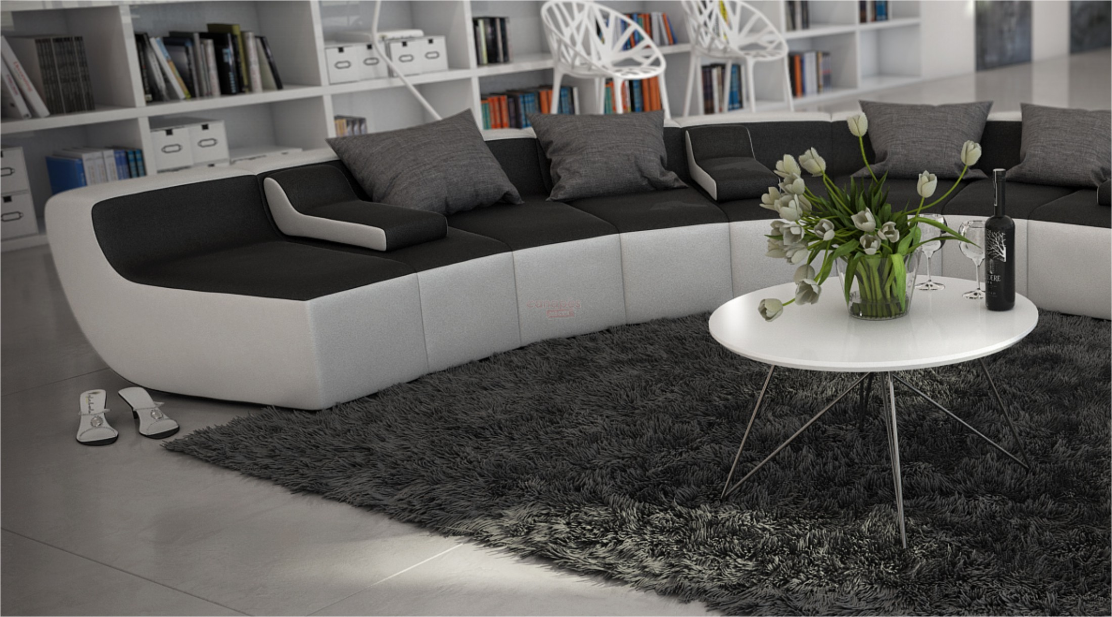 canape d'angle cuir design rond tissera limited