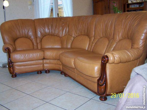 canape d'angle cuir et bois