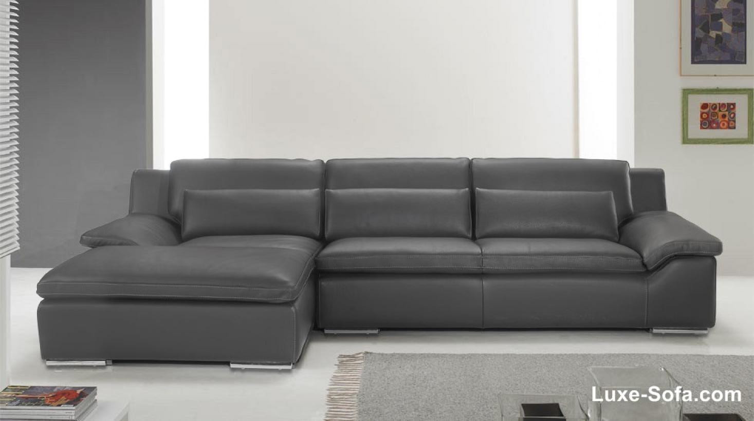 canape d'angle cuir gris anthracite