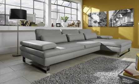 canape d'angle cuir gris clair