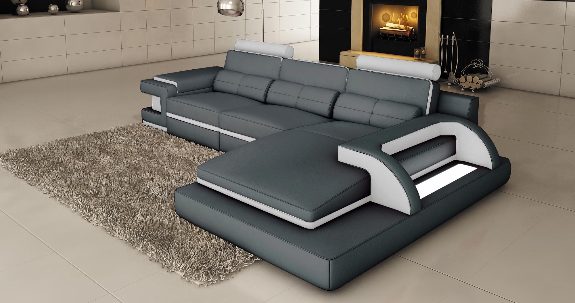 canape d'angle cuir gris et blanc