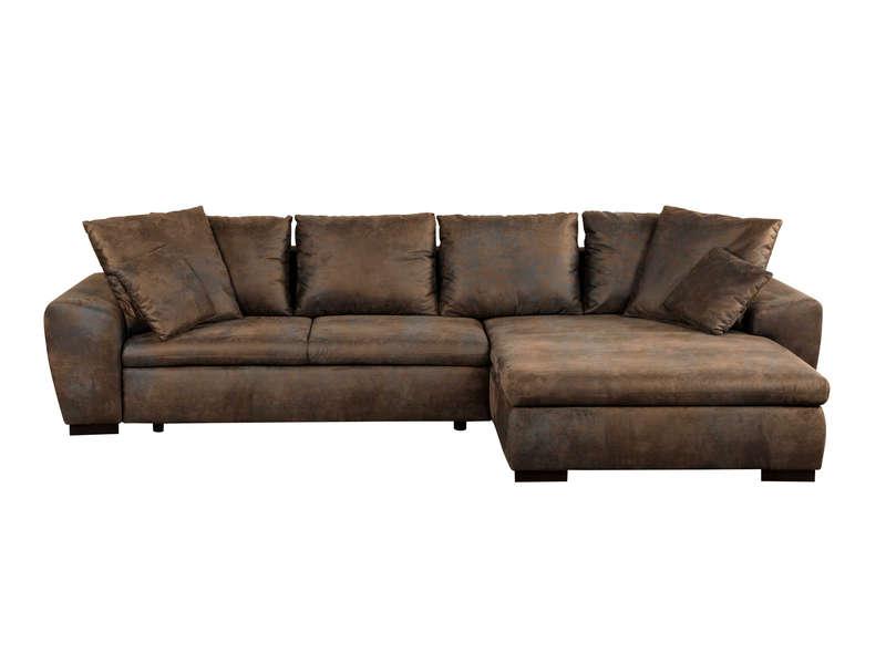 canape d'angle cuir marron conforama