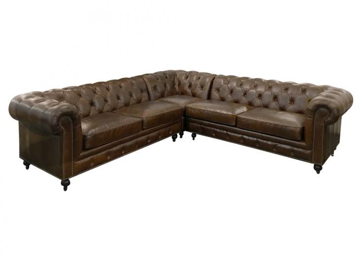 canape d'angle cuir marron
