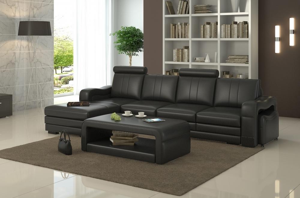 canape d'angle cuir noir 5 places