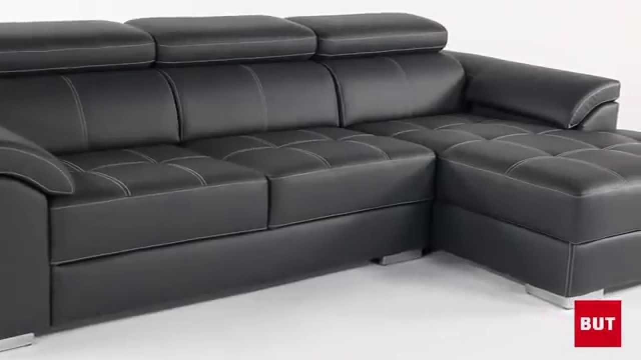 canape d'angle cuir noir but