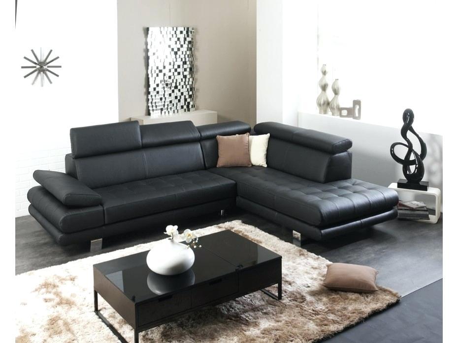 canape d'angle cuir noir cdiscount