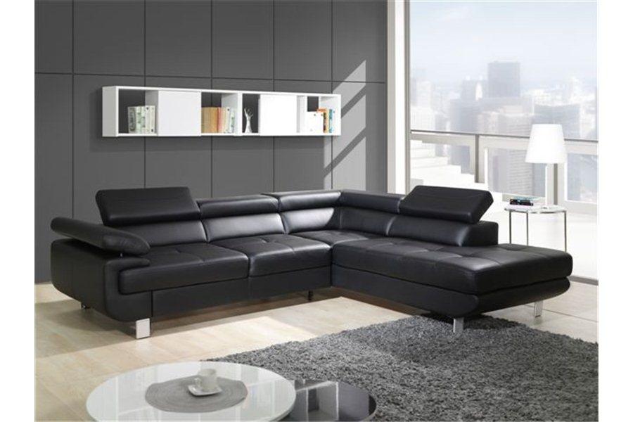 canape d'angle cuir noir design