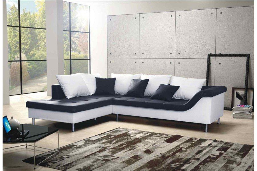 canape d'angle cuir noir et blanc