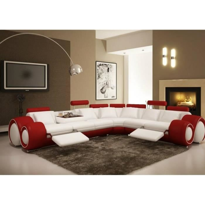 canape d'angle cuir rouge et blanc