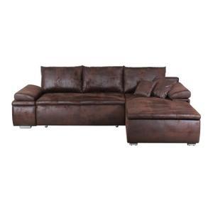 canape d'angle cuir vieilli marron