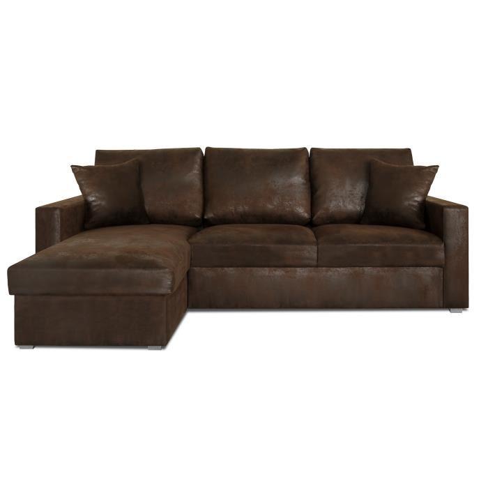 canape d'angle cuir vieilli